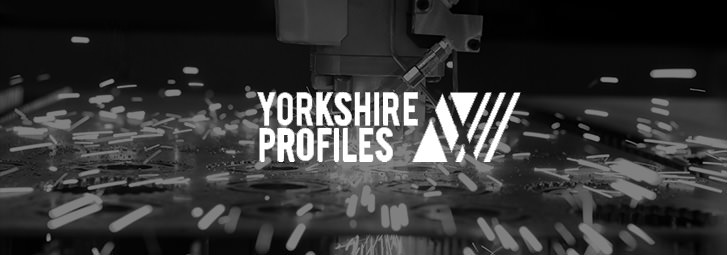 A banner for Yorkshire Profiles Ltd with a laser cutting background