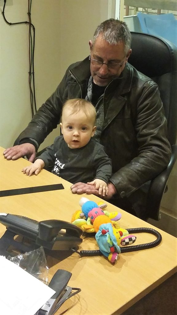 Martin teaching his Grandson how to be a manager at Yorkshire Profiles.